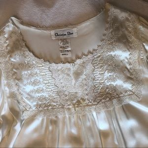 Vintage DIOR long sleeve nightgown ivory lace long